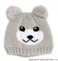 Zimní čepice PANDA - béžová s nádechem do šedé