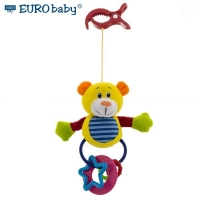 Plyšová hračka s klipem a chrastítkem - Medvídek