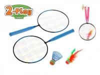 Badmintonové rakety 2ks 44x22cm + košíček + míček asst 2 barvy v síťce