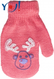Kojenecké dívčí akrylové rukavičky YO - lososové
