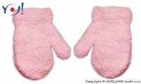 Zimní kojenecké dívčí froté rukavičky YO - sv. růžové