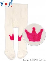 YO ! Bavlněné punčocháčky ABS na chodidle i nártu - smetanové s korunkou