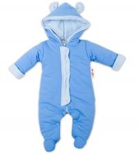Oteplený overálek/kombinézka s kapuci a oušky Baby Nellys ® - modrý