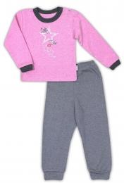 Bavlněné pyžamko NICOL SUPERSTAR - melír růžová/tm. šedá