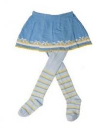 YO ! Bavlněné punčocháčky se sukničkou - modré s kytičkami