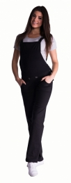 Těhotenské kalhoty s láclem - černé
