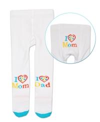 Bavlněné punčocháče Baby Nellys ® - I love Mom, I love Dad - bílé