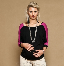Těhotenské triko/halenka EDENA - černá/amarant