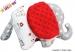 Edukační hračka SLON s minky Baby Nellys ® - Medvídek balónek/retro šedé/minky červená